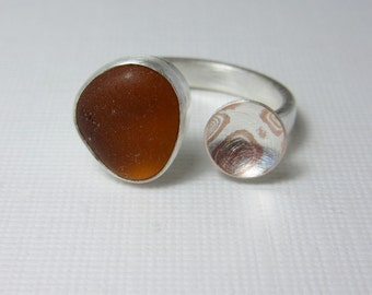 Mokume-gane and Brown Beach Glass Ring, Sea Glass Ring, Two Part Ring, Mixed Metal Ring