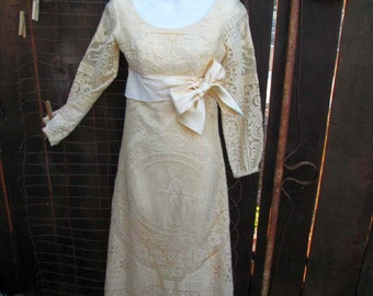 70s Vintage Cream Lace Dress Lace party dress Boho Bride Vintage Wedding gown Crochet lace beach maxi dress S
