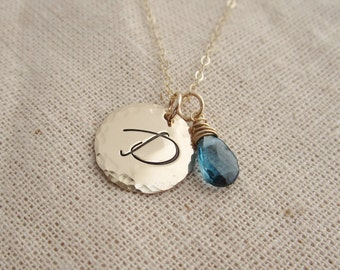 Large gold initial necklace, Personalized, December birthstone necklace, London blue topaz necklace, December birthday, Mother's necklace