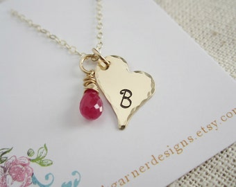 Personalized heart necklace, gold initial necklace, Valentine necklace with custom birthstone necklace, gold heart, Valentine's Day gift