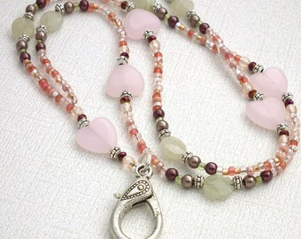 Pink Beaded Lanyard - Pink Hearts, Soft Green Beads