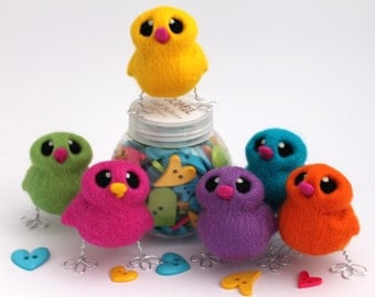 Needle Felted Easter Chick Bright  Choose Your Colours