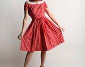 Vintage 1960s Lanz Dress - Cherry Red Floral Striped Print Day Dress - XS X-small