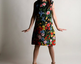 Vintage 1960s Dress - Bright Colorful Vibrant Floral Linen Dress - Color Pop - Medium