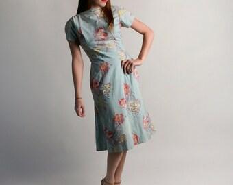 Vintage 1950s Rhinestone Dress - Light Aquamarine Wiggle Cocktail Dress - Medium