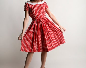 Vintage 1960s Lanz Dress - Cherry Red Floral Striped Print Day Dress - XS X-small