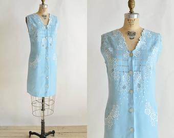 1960s Linen Dress --- Vintage Baby Blue Dress