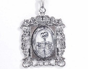 Gothic Wicca Occult Skeletal Memento Mori Noir Skull Antiqued Silver Victorian-Style Ornate Necklace with Skeleton by Velvet Mechanism