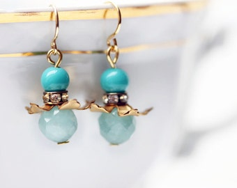 Turquoise Earrings Bohemian Earrings  Green Amazonite Rhinestone Beaded Earrings Petite Earrings