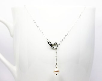 Sterling Silver Tiny Heart Lariat Pearl Necklace, Y Necklace