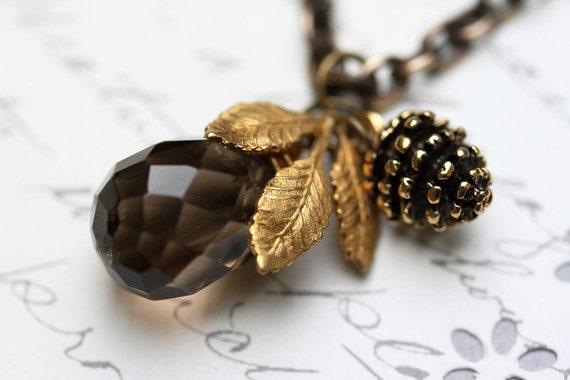 Smokey Topaz Necklace , Brown  Necklace, Pine Cone and Golden Leaf Necklace, Brown Gemstone Necklace