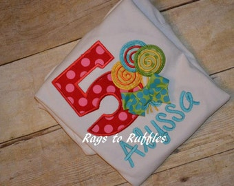 Lollipop Birthday applique shirt 5th Birthday shirt