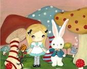Alice Print Alice In Wonderland White Rabbit Mushroom Fairy Tale Children Wall Art