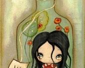 Alice In Wonderland Art Print Glass Bottle Fairy Tale Wall Art 5 x 10 Drink Me