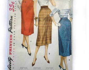 Simplicity 1345 Vintage Pattern 1950's One Yard Straight Skirt