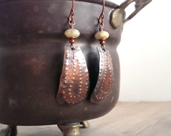 Rustic copper earrings - copper and Yellow amazonite - textured copper earrings - hand forged copper earrings