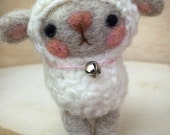 Little Miss Lambie Needle Felted Doll Handmade by Val's Art Studio