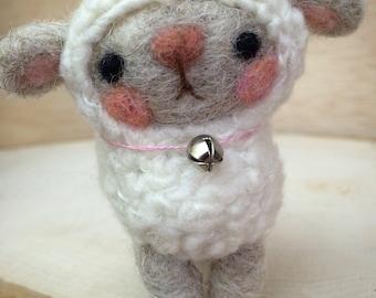 Little Miss Lambie Needle Felted Doll Handmade by Val's Art Studio, Wool Felt Animal Doll, Collectible Doll, Cute Miniature Handmade Sheep