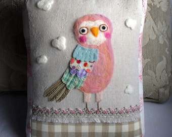 Owl Love in Pinks Needle Felted and Stitched Pillow with Collaged Feathers made from Upcycled Fabric by Val's Art Studio, Owl Bird Pillow