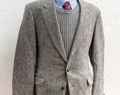 Men's Instant Outfit / Men's Blazer, Vest, Shirt, Tie / Size XL / Four-Piece Vintage Menswear / Harris Tweed