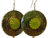 Moroccan-inspired Cloisonné Earrings in Forest by Catherine Nicole