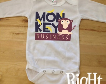 Long Sleeve MONKEY Business Baby Great Baby Shower Gift Baby One Piece Shirt t-shirt