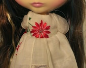 NEW! Blythe Christmas Hanky Dress White Handkerchief with Red Poinsettia and Lace Underskirt