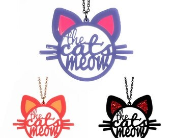 The Cat's Meow Necklace - Cat Necklace - Laser Cut Necklace (C.A.B. Fayre Original Design)