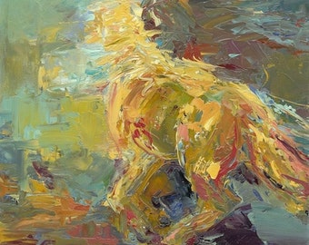 Dancing Horse  Large Canvas Abstract Horse Art Print