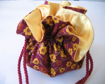 Jewelry Pouch Jewelry Bag Fuchsia and Yellow Floral
