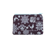 Folkloric Birds and Flowers on Eggplant Zipper Pouch / Cute Bird Make Up Bag