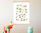English Alphabet Print + Frame Kit 11x14 Nursery Wall Art, Animals, Kid's Decor, Gender Neutral Nursery, ABC, Children