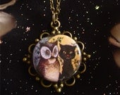 Retro Owl and Pussycat Pendant on Antique Bronze Chain