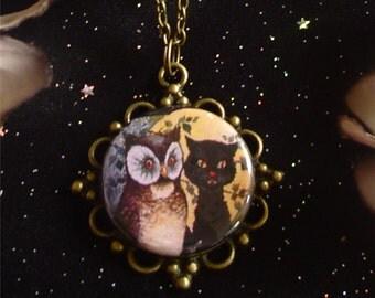 Retro Owl and Pussycat Pendant on Antique Bronze Chain