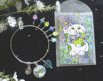 Spring Bouquet Neko Lucky Cat Expandable Stackable Charm Bracelet with Matching ACEO Print/Mini Card