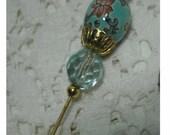 Victorian Style HATPIN - Aqua Enameled CLOISONNE  BEAD -  Vintage Findings