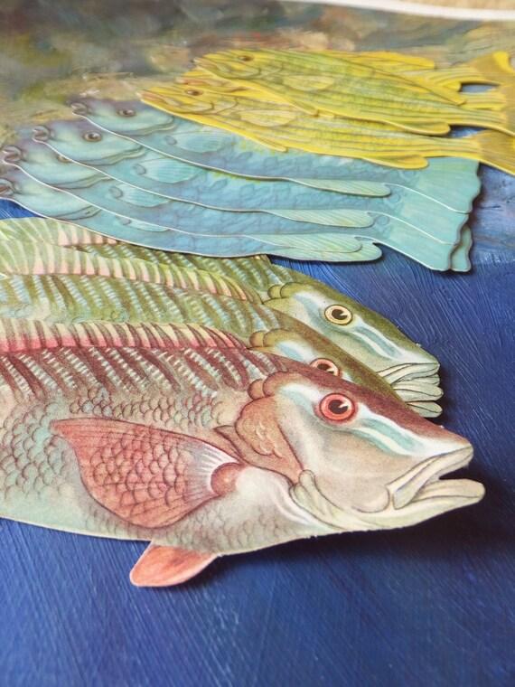 Dozen Fish Tags Fish Die Cut Vintage Fish Craft Supplies Paper