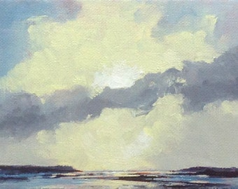 ECLIPSE, oil painting landscape original oil, 100% charity donation, original painting  5x7 canvas panel, clouds, ocean