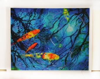 Moonlight swim,in deep blue, Art, Koi art, fish, wall art, dark blue decor, mixed media photograph, original art #Art #Koi