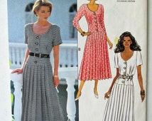 """Butterick 6199 1990s Beau David Dropped Waist Dress with Mid Calf Length Pleated Skirt, Low Scoop Neck, UNCUT Sizes 12-16 Bust 34"""" - 38"""""""