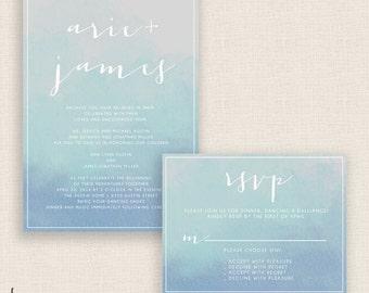 COOL WATERCOLOR - DIY Printable Wedding Set - Invitation and Reply Card