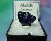 AZURITE And MALACHITE Top Quality Gemmy Navy Blue Twinning Crystal Cluster Mineral Specimen In Perky Box From Sonora Mexico