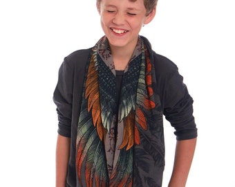Boho Wrap, Kids Gift, Kids Scarf, Wings Shawl, Feather Wrap, Kids Shawl, Kids Accessory, Kids Cover, Art Gift, Painted Scarf, Cotton Scarf