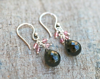 Black Spinel and Pink Tourmaline Gemstone Sterling Silver Wire Wrapped Earrings, Pink and Black Earrings, Gemstone Jewelry