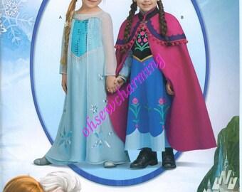 Simplicity 1233 Frozen Costume Sewing Pattern Elsa Anna Girls Sizes 3-4-5-6-7-8