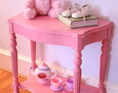 Solid Wood Accent or Side Table ~ Lady Slipper Pink ~ Baby, Tween, or Teen Girl ~ Refinished ~ Chalk Paint ~ Lightly Distressed