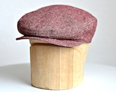 Men's Flat Cap in Red and White Tweed - Retro Driving Cap - Made to Order - 3 WEEKS FOR SHIPPING