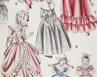 Vintage 1950s Pattern Costumes - 28 Bust - Butterick Early American  Dutch and Spanish - 27 Pieces