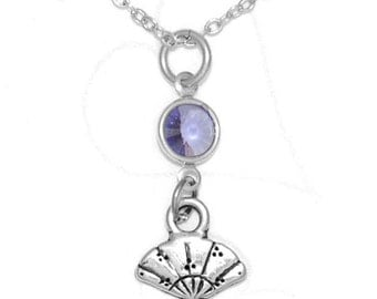 Clayvision Cute Fan Charm Necklace with Birthstone/Team Color Swarovski Crystal Japanese