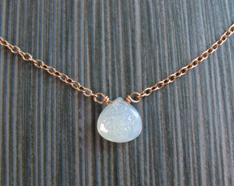 Druzy Necklace in White with Bronze - Short Layering Necklace - Stone Pendant - White and Gold - Modern Romance Collection